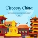Vector Flat Style China Sights Background