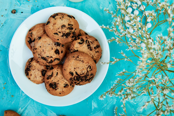 Chocolate Cookies. Healthy morning breakfast - Stock Photo - Images