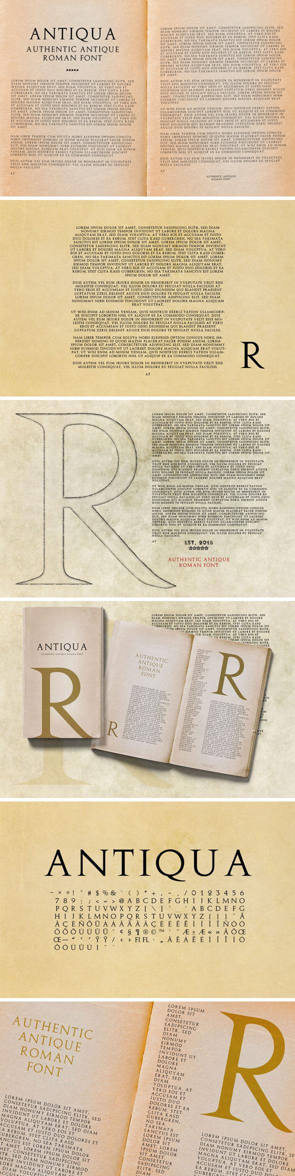 Antiqua - Antique Roman Font - Serif Fonts