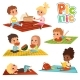 Funny Kids in Park. Picnic Concept Vector Pictures