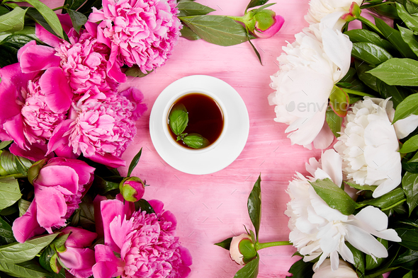 Bouquet Peony flowers and  cup of coffee - Stock Photo - Images