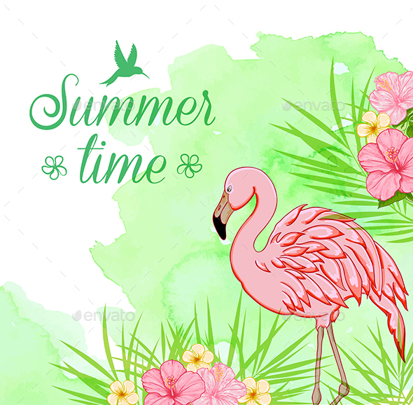 Green Watercolor Background with Flamingo - Animals Characters
