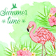 Green Watercolor Background with Flamingo - GraphicRiver Item for Sale