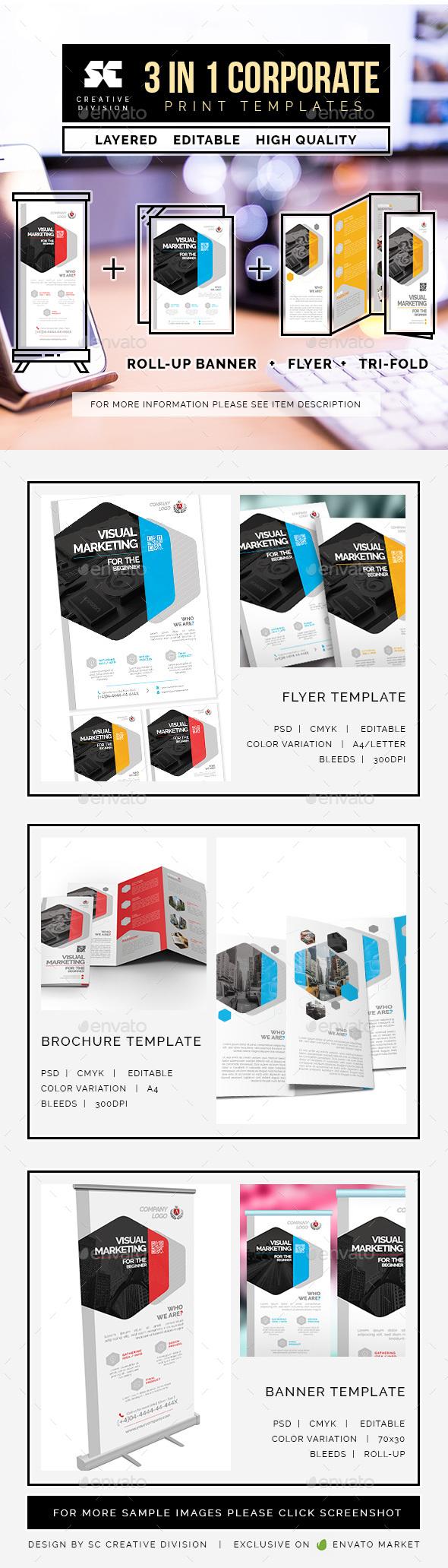 Corporate Bundle 3 In 1 - Miscellaneous Print Templates