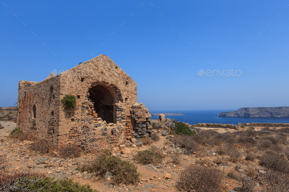 The ruins of ancient Venetian fortress. Crete, Greece - Stock Photo - Images