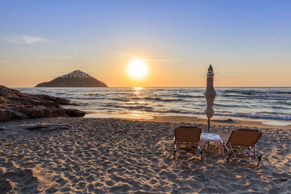 Paradise beach at sunrise. Greece - Stock Photo - Images