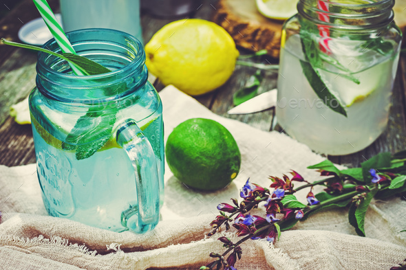 Lemon and sage infused water - Stock Photo - Images