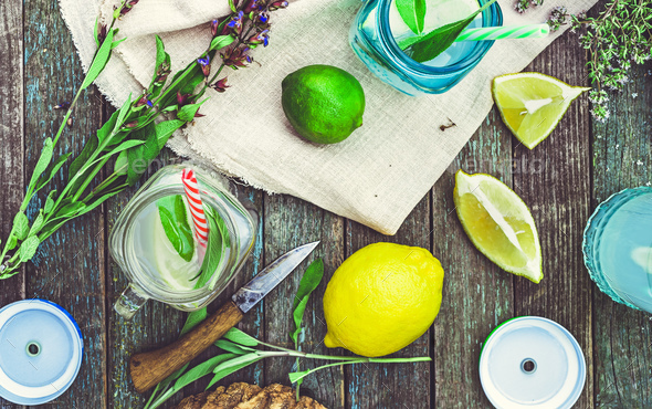 Citrus and sage water above - Stock Photo - Images