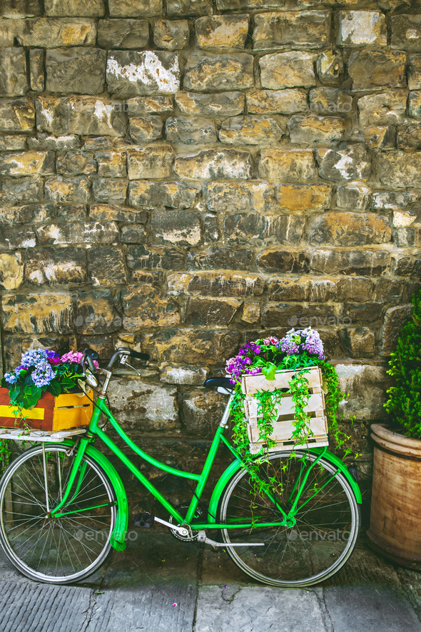 Decorative bicycle with flowers - Stock Photo - Images