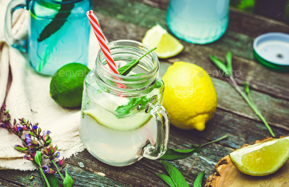 Water infused with lemon and sage - Stock Photo - Images