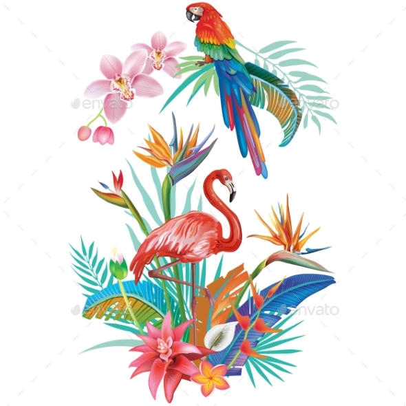 Tropical Flowers Flamingoes and Parrots - Flowers & Plants Nature