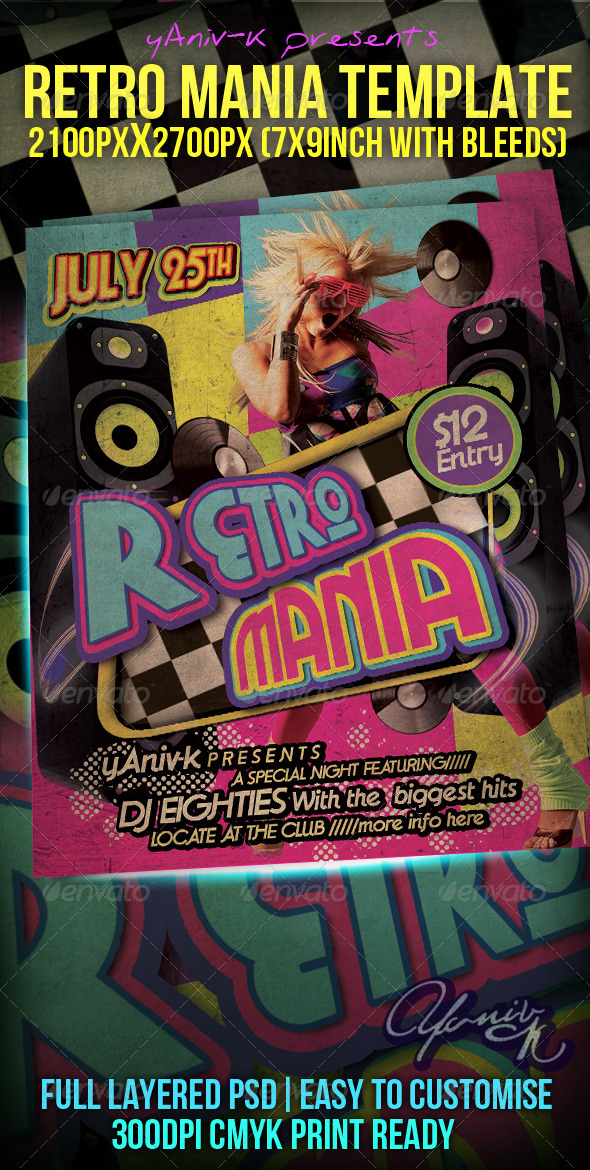 Retro Mania Flyer Template By YanivK  Graphicriver