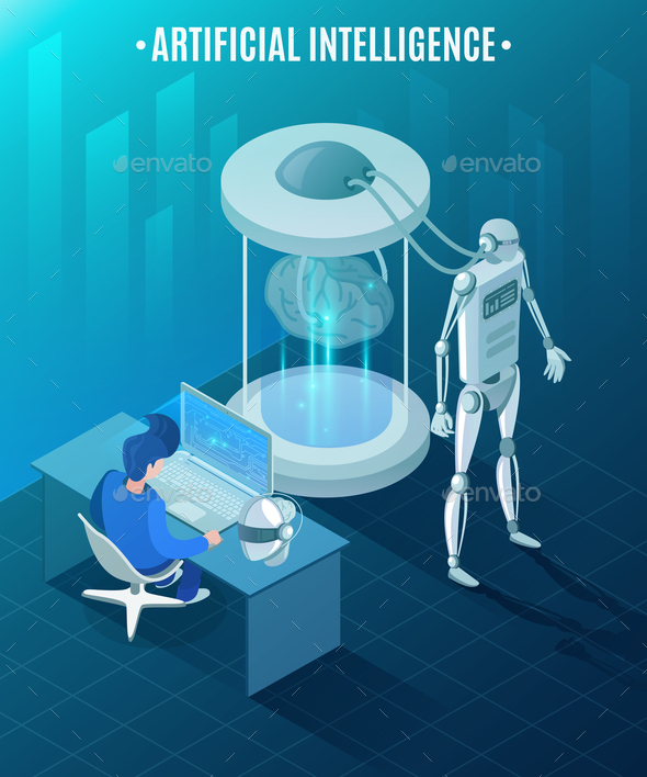 Artificial Intelligence Isometric Illustration - Computers Technology