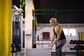 woman working out  jumping on fit box - PhotoDune Item for Sale