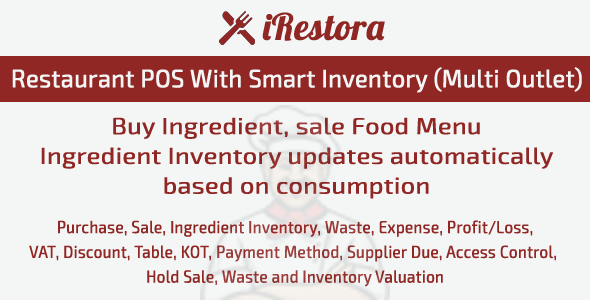 iRestora - Restaurant POS with Smart Inventory (Multi Store) - CodeCanyon Item for Sale