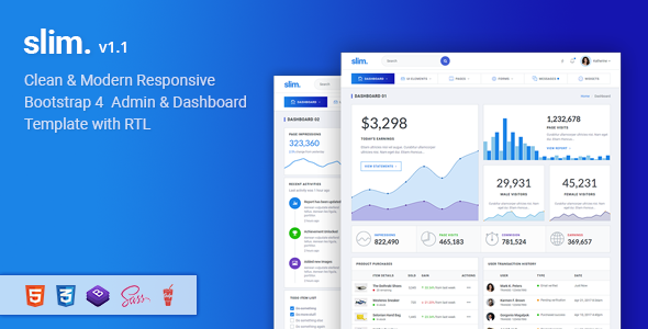 Slim - Modern & Clean Responsive Bootstrap 4 Admin Dashboard Template