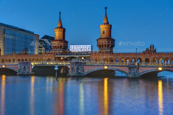 The Oberbaumbridge and the river Spree in Berlin - Stock Photo - Images