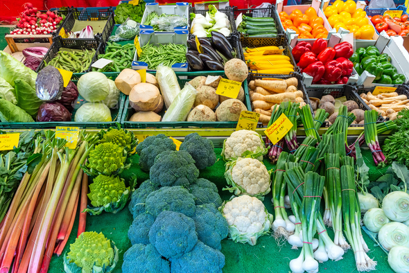Fresh vegetables for sale at the Viktualienmarkt in Munich, Germany - Stock Photo - Images