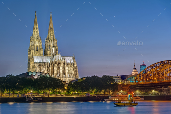 The famous Cologne Cathedral and the river Rhine - Stock Photo - Images