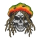 Vintage Colorful Rastaman Skull Template