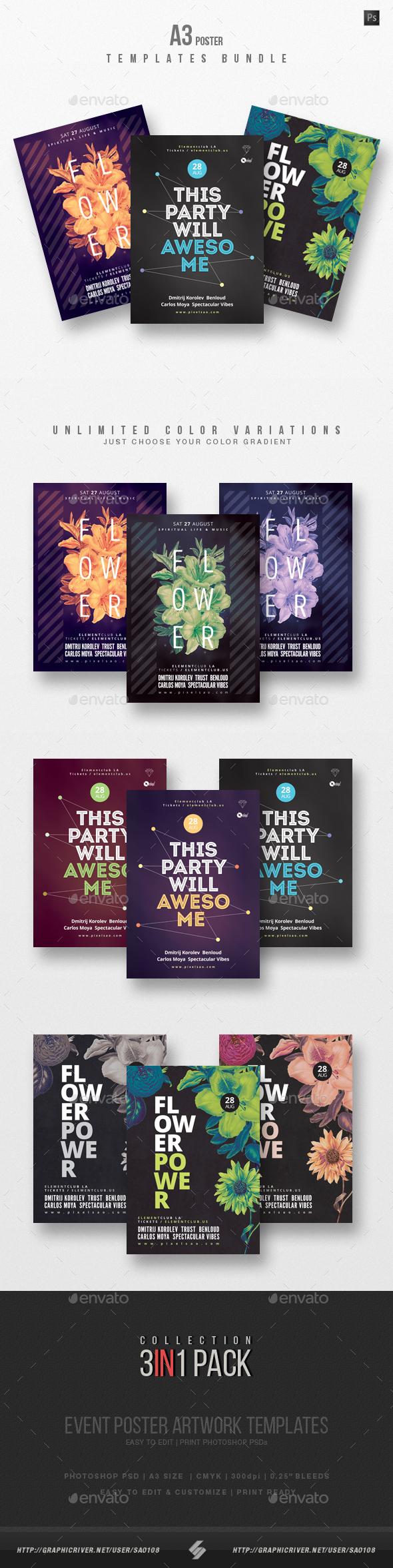 Creative Sound vol7 - Party Flyer Templates Bundle A3 - Events Flyers