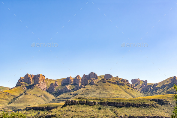 View from the Barkly Pass in the Eastern Cape Province - Stock Photo - Images