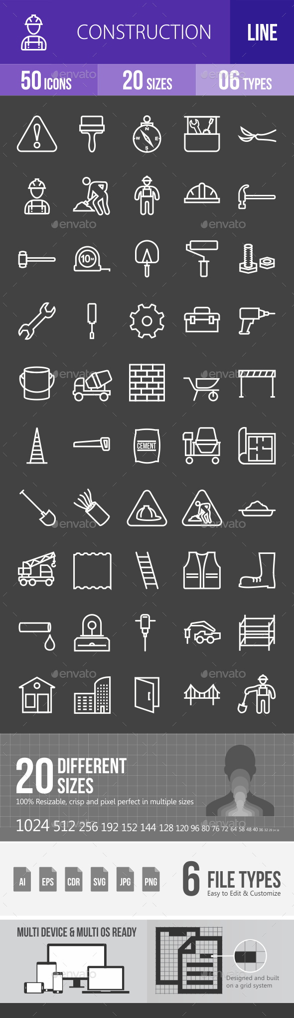 Construction Line Inverted Icons - Icons