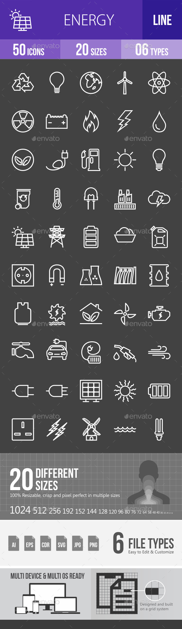 Energy Line Inverted Icons - Icons