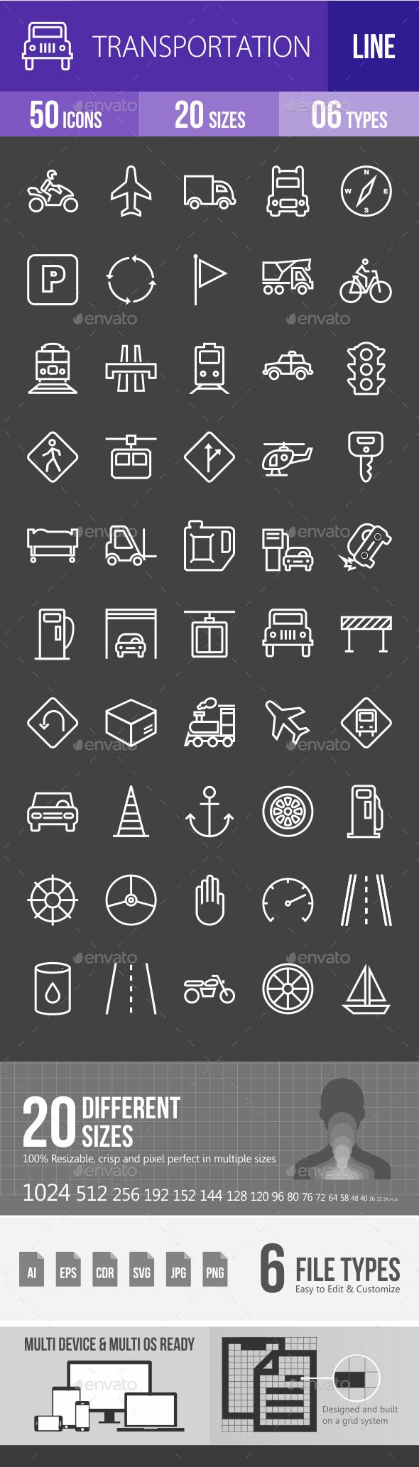 Transportatiom Line Inverted Icons - Icons