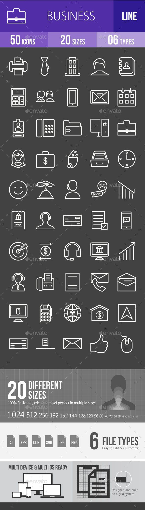 Business Line Inverted Icons - Icons
