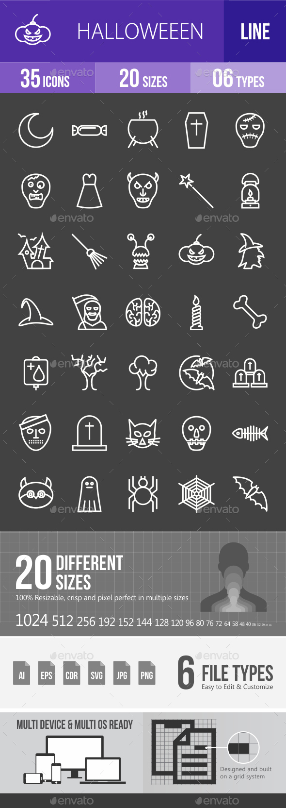 Halloween Line Inverted Icons - Icons