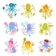 Set of Colorful Octopuses of Different Professions - GraphicRiver Item for Sale