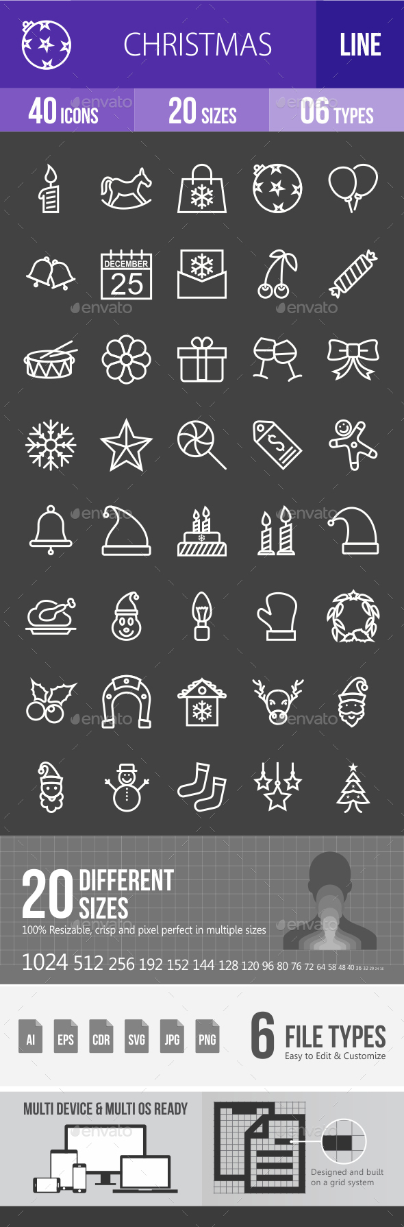 Christmas Line Inverted Icons - Icons