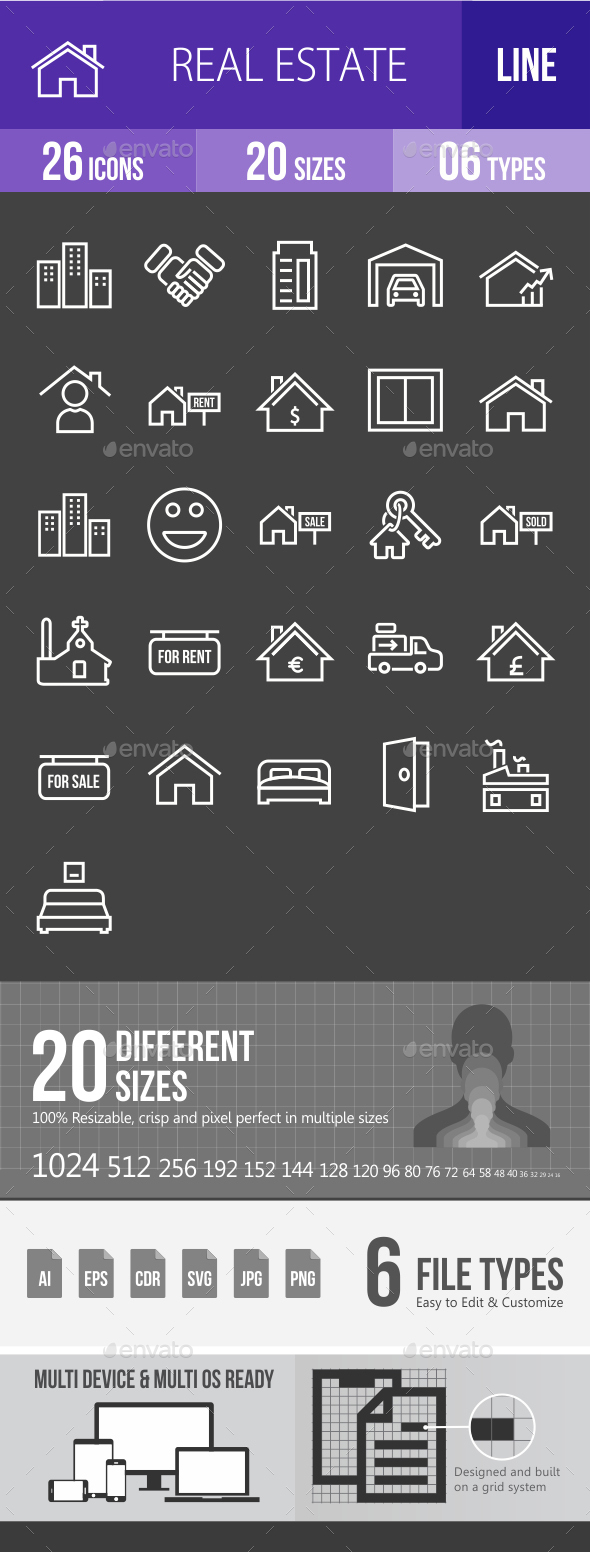 Real Estate Line Inverted Icons - Icons