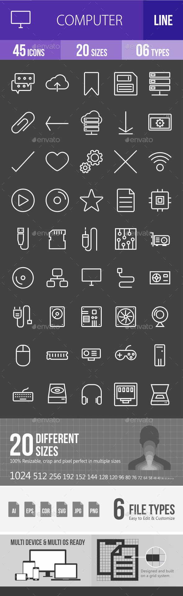 Computer Hardware Line Inverted Icons - Icons