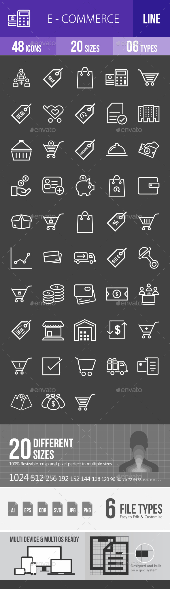 Ecommerce Line Inverted Icons - Icons
