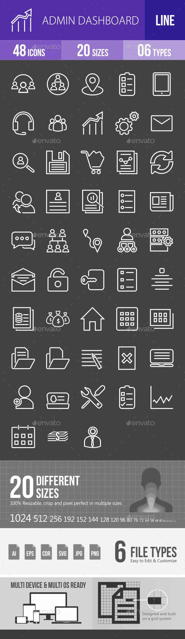 Admin Dashboard Line Inverted Icons - Icons