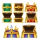 Set of Closed and Opened Colored Chests Isolated - GraphicRiver Item for Sale