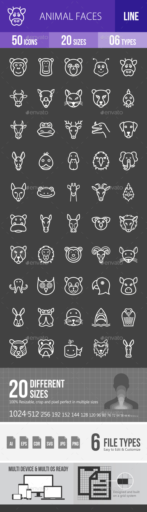 Animal Faces Line Inverted Icons - Icons