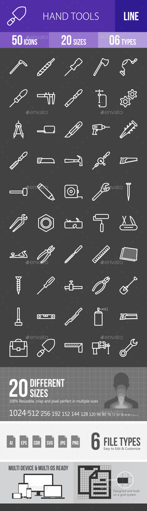 Hand Tools Line Inverted Icons - Icons