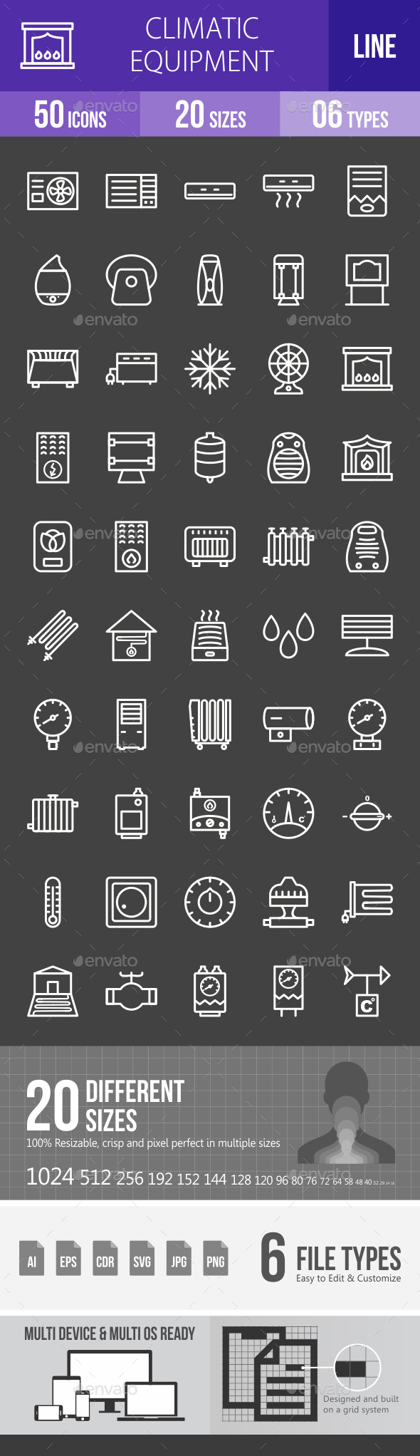 Climatic Equipment Line Inverted Icons - Icons