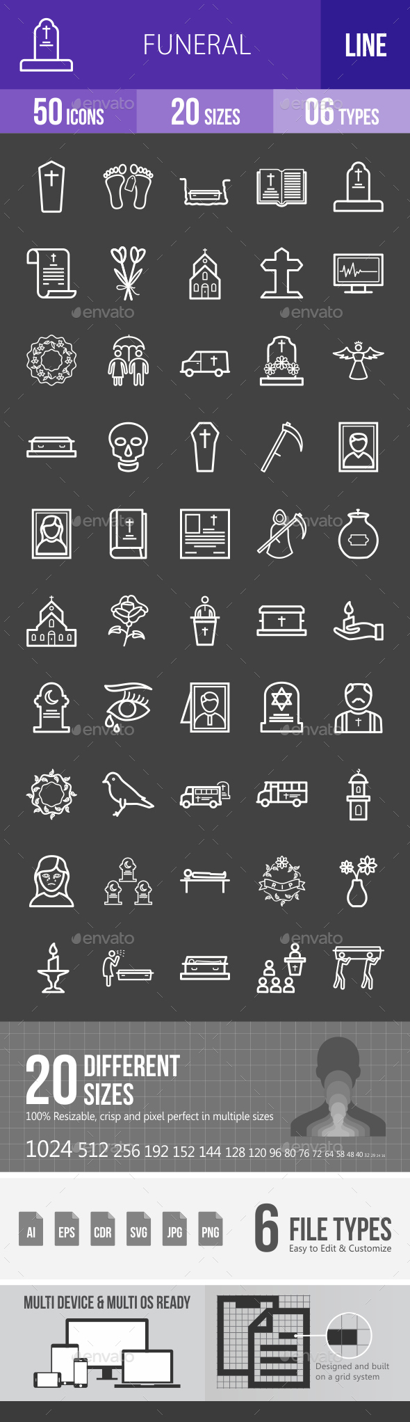 Funeral Line Inverted Icons - Icons