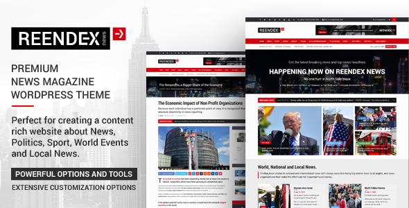 Reendex - Broadcast News Magazine WordPress Theme - News / Editorial Blog / Magazine