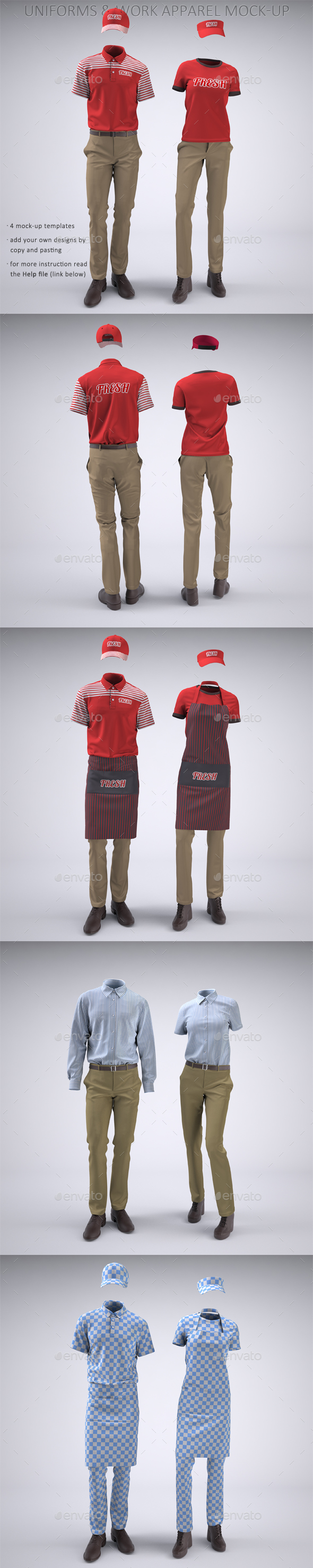 Food Service Uniforms and Retail Uniforms Mock-Up - Apparel Product Mock-Ups