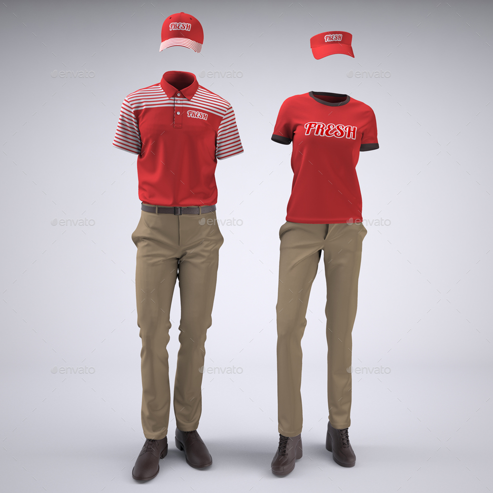 Food Service Uniforms And Retail Uniforms Mock Up By