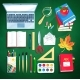 Illustration Set of Education Supplies - GraphicRiver Item for Sale