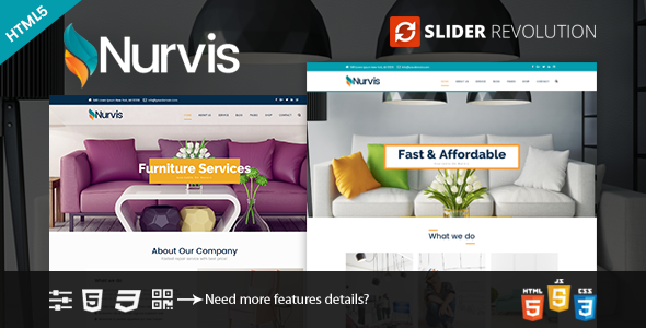 Nurvis - Furnitue Homestyle Bootstrap 4 Responsive HTML5 Template - Creative Site Templates