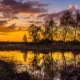 Sunset on the Pond with Leafless Trees  , Sunset on the Riverbank, Sunset on the Late Autumn Rive - VideoHive Item for Sale