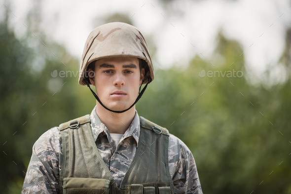 Portrait of handsome military soldier - Stock Photo - Images