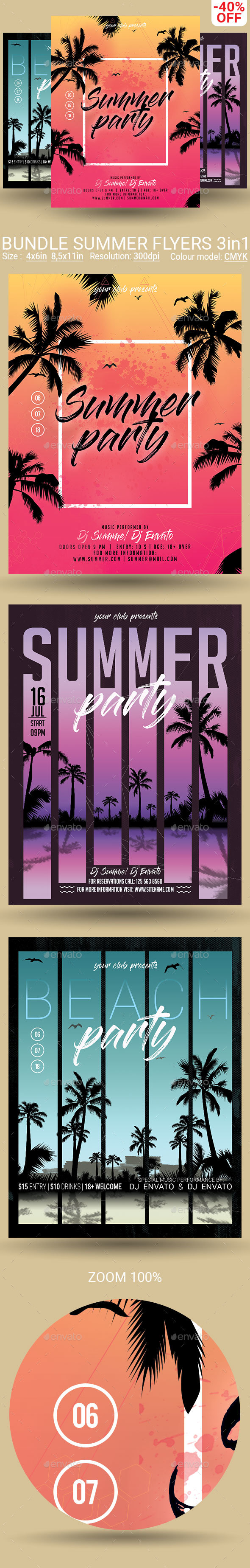 Bundle Summer Flyers Posters 3 in 1 - Clubs & Parties Events